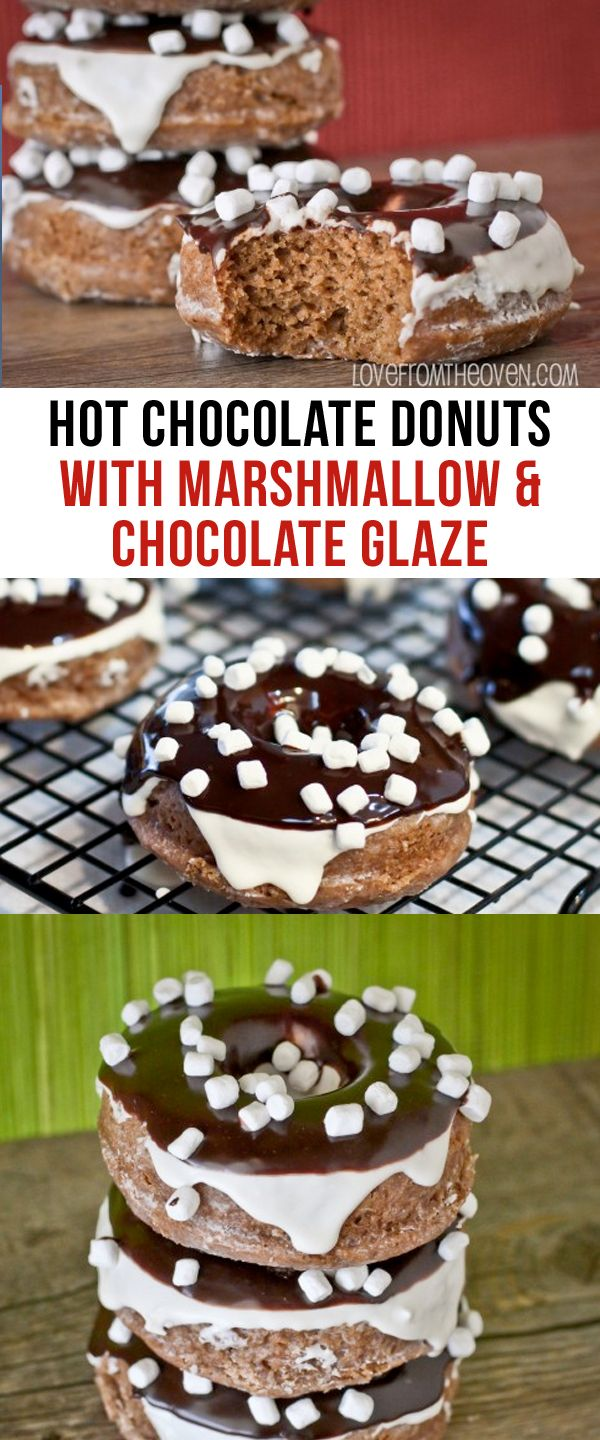 Hot Chocolate Donuts With Marshmallow Glaze and Chocolate Glaze.  What an awesome way to start a day!