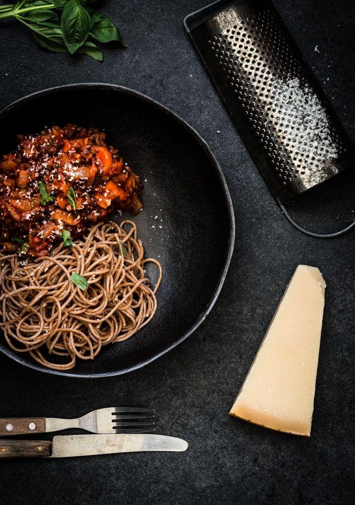 Vegetarische linzen spaghetti