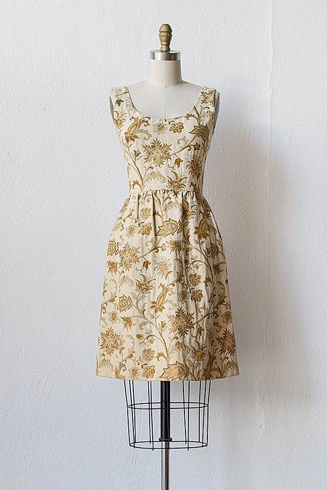 vintage 1960s cream gold brocade dress [Clouet Brocade Dress] - $128.00 : ADORED | VINTAGE, Vintage Clothing Online Store