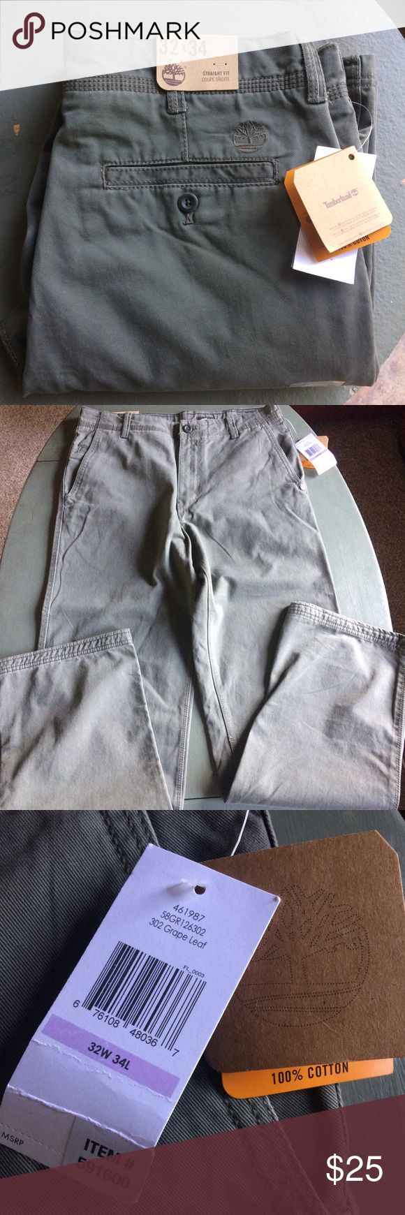 """NEW Timberland Straight Fit Chinos NEW Timberland Straight Fit Chinos in color """"grape leaf"""" or green. Size is 32 x34.measurements laying flat: waist: 16, inseam: 33. Has small bark on back of one leg (shown) Timberland Pants Chinos & Khakis"""
