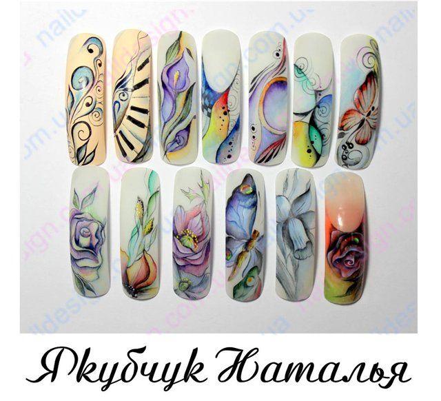 Форум ногти: обсуждение наращивания ногтей » Акварель, выкладываем работы акварельными красками