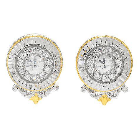 161-233 - Gems en Vogue 1.24ctw White Zircon Diamond Cut Button Earrings