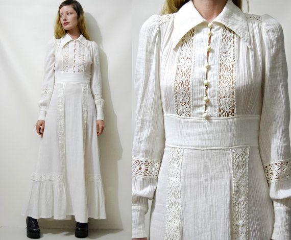 70s Vintage CHEESECLOTH Off White Dress CROCHET Lace Trim Puff Sleeve Long Maxi Cotton Prairie Boho Hippie Bohemian Wedding 1970s vtg xs s