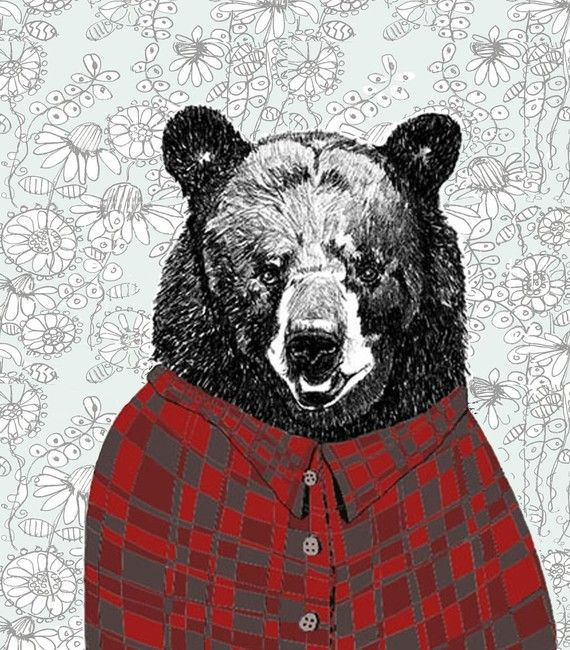 bears love flannel. well, duh.: Art Illustrations, Flannels Shirts, Birds Art, Wallpapers Backgrounds, Art Prints, Fun Facts, Bears Art, Pencil Drawings, Drawings Of Animal