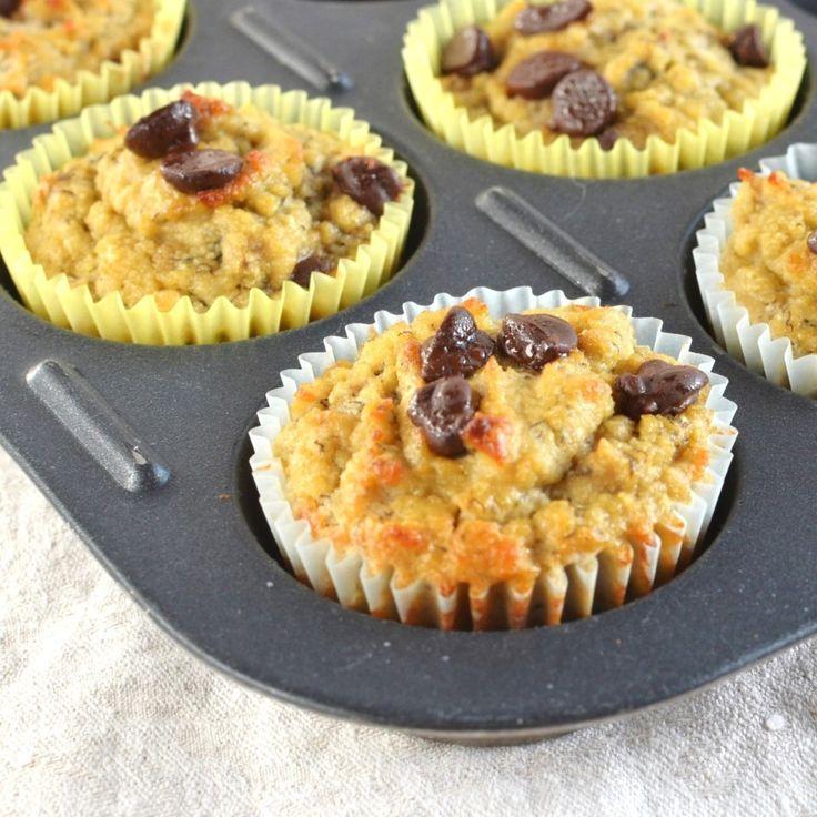 Coconut Flour Banana Chocolate Chip Muffins #24CarrotKitchen