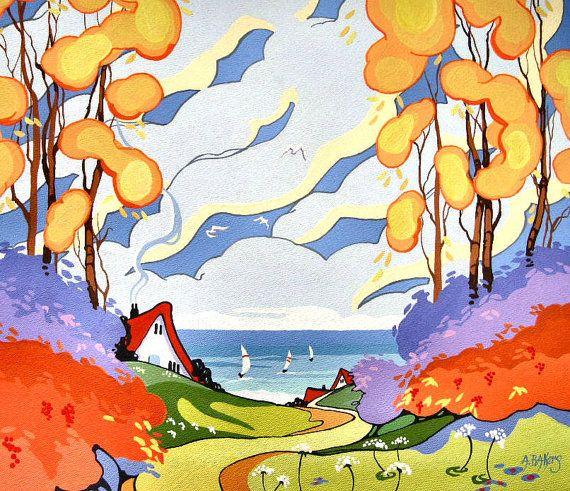 Mia Ode alla serie Pittura Deco Cottage è ispirato da disegni whimsical ceramiche da Clarice Cliff e Susie Cooper da epoca Art Decò. I colori e vibrante e tutti centri intorno al concetto di casa essendo un rifugio dallo stress del mondo esterno. Le carte di nota sono il cartoncino opaco bianco di qualità superiore e misurano 4,25 di 5,50 pollici.