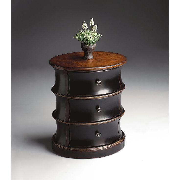 Butler Margot Cafe Noir Wood Oval Drum Table (Multi-Color), Brown