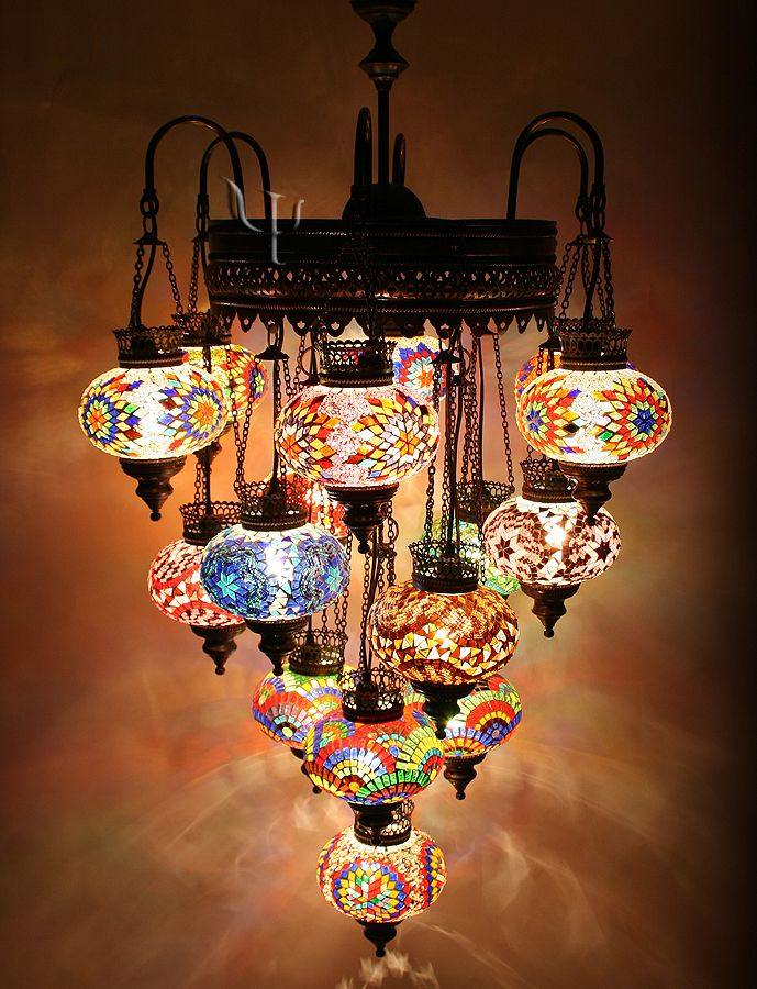 Turkish Style Mosaic Lighting Eclectic Chandeliers Other Metro Hedef Aydınlatma