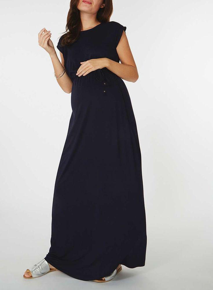 Womens **Maternity Navy Short Sleeve Maxi Dress- Navy