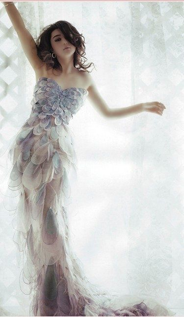 Mermaid dress with scale or butterfly decoration effect