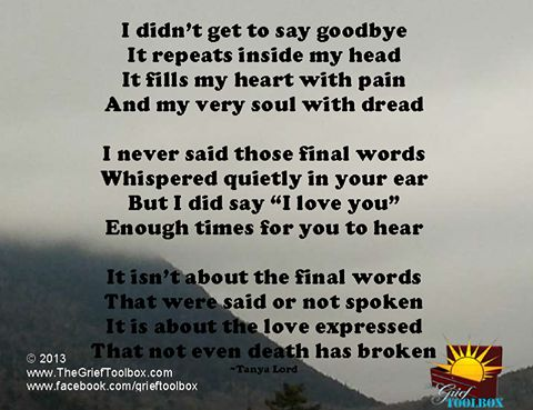 We didn't know the end was coming...how could we had known?! I can't remember how I said goodbye! I CAN'T!