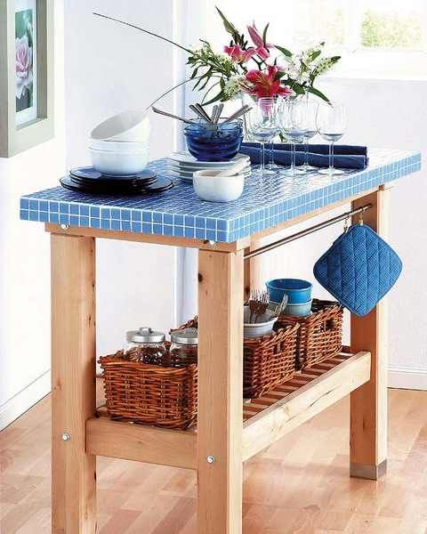 DIY mosaic tiled table - looks like an ikea island