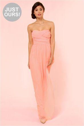 LULUS Exclusive Slow Dance Strapless Bright Peach Maxi Dress at LuLus.com! $71.00