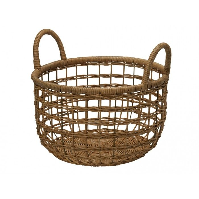 Open Weave Wicker Basket with Cotton Liner - Small