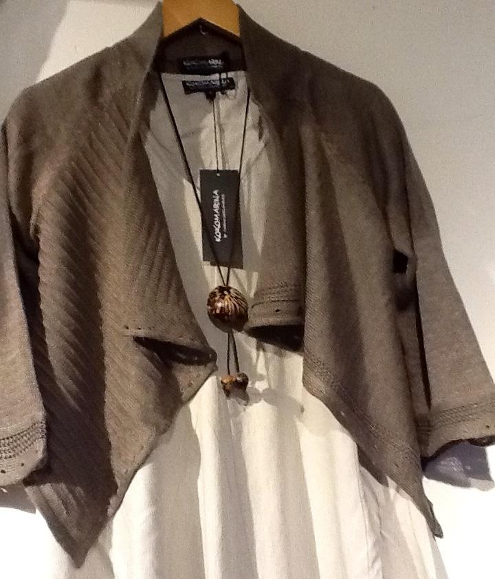 Linnen short cardigan and dress for summer 2013