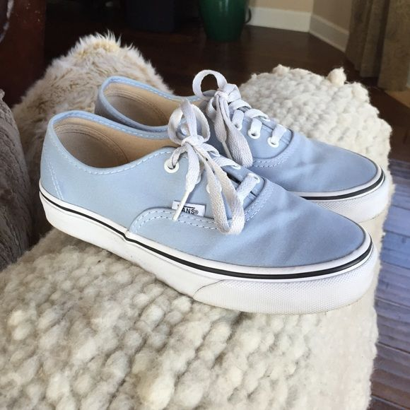 Light Blue Vans Worn once. White soles still! The pale blue color would be super cute for upcoming Spring. Vans Shoes Sneakers