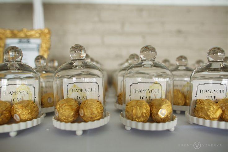 Chocolate Mini Glass Bell Jar Wedding Favors | Glam Speakeasy Wedding | Brent Veverka Media