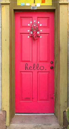 hello for your front door  Vinyl Wall Saying by CherryChipCafe, $10.00