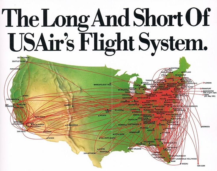 Best Airline Route Maps Images On Pinterest Maps Travel - Us airways direct flights map