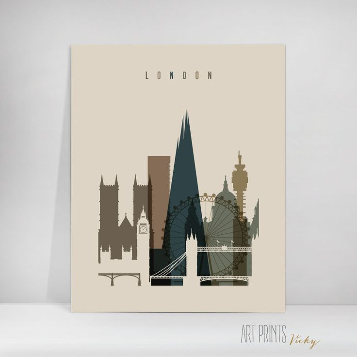 London poster earth colours vertical