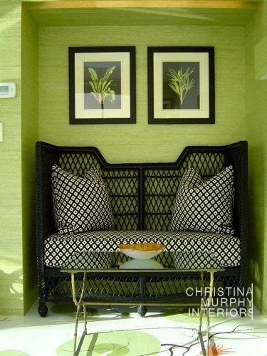 Christina Murphy Interiors: Colors Combos, Green Interiors, Black And Green Living Rooms, Black White, Beaches Houses, Murphy Interiors, Green Rooms, Interiors Ideas, Christina Murphy