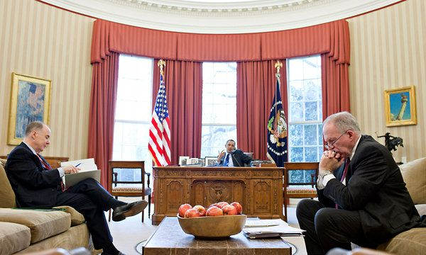 Pete Souza/The White House  President Obama in the Oval Office with Thomas E. Donilon, left, the national security adviser, and John O. Brennan, his top counterterrorism adviser