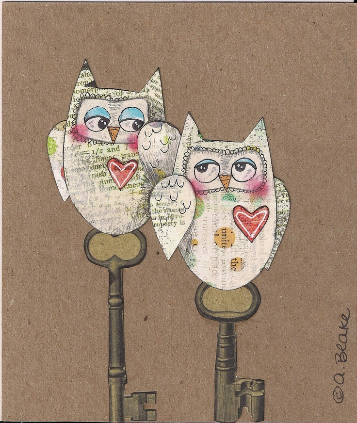Mixed Media Art Original Owl Illustration Collage by Paintingbliss,