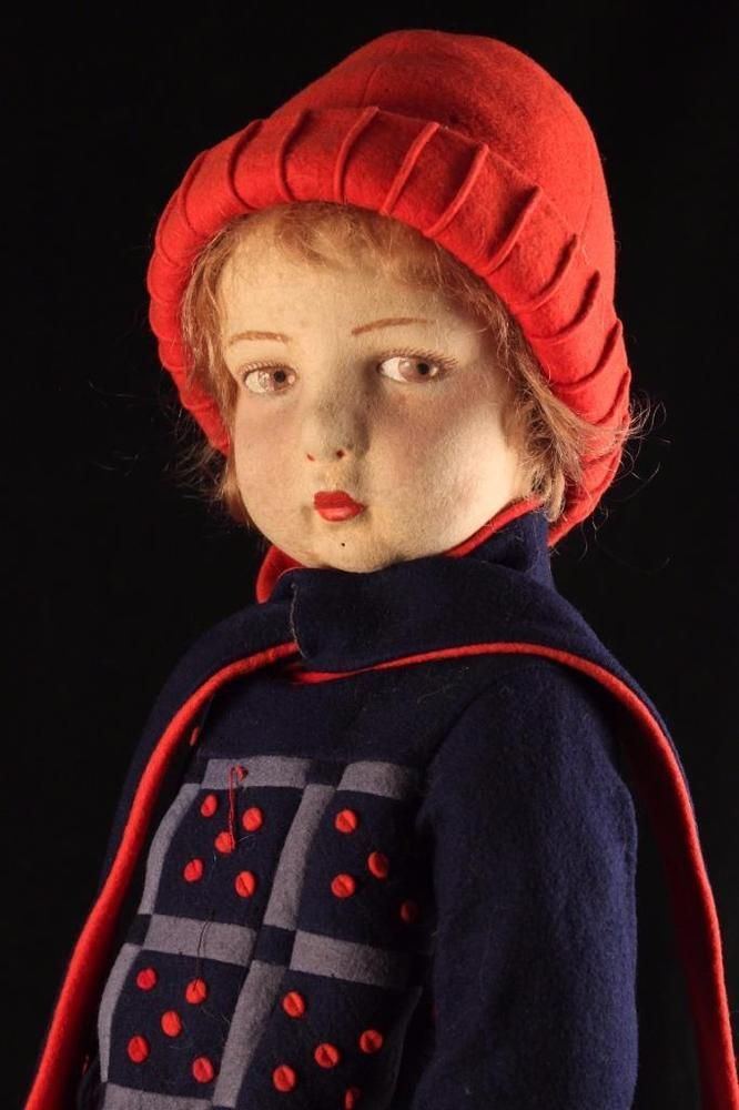 Rare 23 Antique 1929 Felt Italian Lenci 109 Serie Side Glancing Cloth Face Doll | eBay