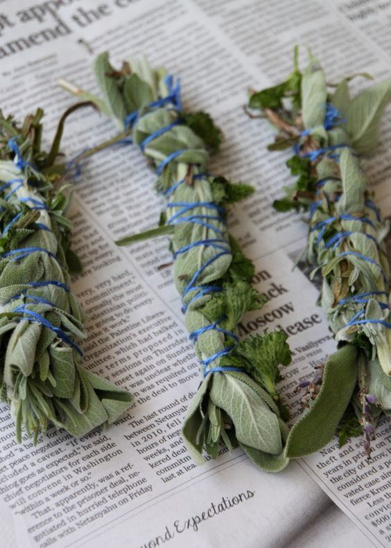 Place lavender, sage and mint in bundles. Let them smolder and the earthy scent will ward off mosquitoes. Sounds promising... I'll have to try it!
