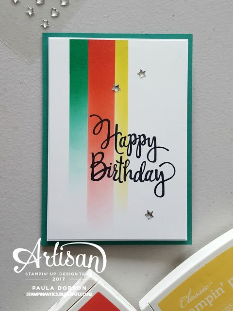 Paula Doson - Stampinantics: Stylized Birthday on a racing stripe background!  GDP#073.  Click on the picture to see more of Paula's projects. #pauladobson #stampinantics #globaldesignproject #stylizedbirthday
