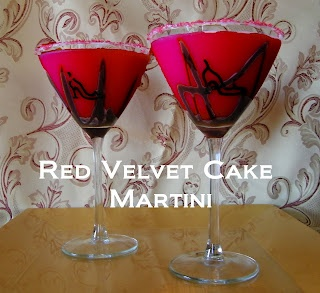 """red velvet cake martini Cream cheese frosting  Red colored sugar 2 teaspoons chocolate syrup Ice 1/4 C cake-flavored vodka (We use Pinnacle) 1/4 C crème de cacao (We used white, but dark would make it appear more """"chocolate-y"""" and darker.) 6 tablespoons buttermilk Red food coloring (as desired)"""