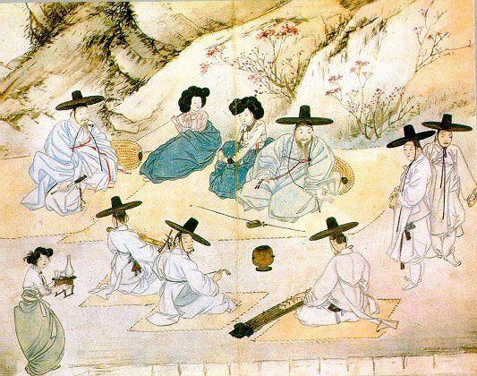 (Korea) 賞春野興,1805 by Shin Yun-bok (1758- ?). aka Hyewon. Joseon Kingdom, Korea. colors on paper.