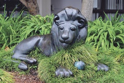 The Lion in the Meadow statue, Whakatane.  This statue was outside the public library until it moved to a new building and the hope is that the statue will be relocated to again be back near the books.  Margaret Mahy (1936 - 2012) was born and grew up in Whakatane.  Great public art.