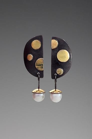 "Dot Dot Dot Earrings by Judy H Morgan Oxidized sterling silver, 18k gold bimetal, 6.5mm Japanese saltwater pearls l Dimensions: 7/16"" wide x 1 5/8"" long"