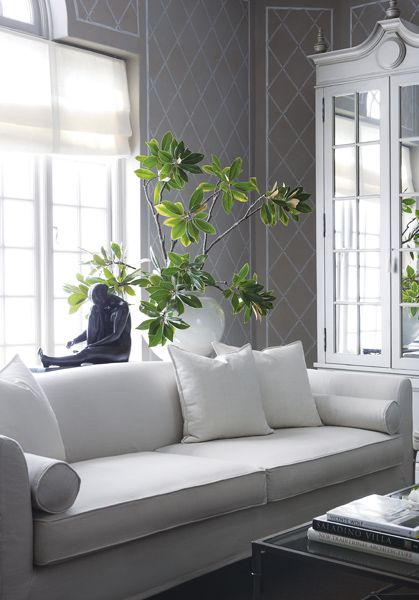 Serene Gray Living Room With Trellis Stenciled Walls