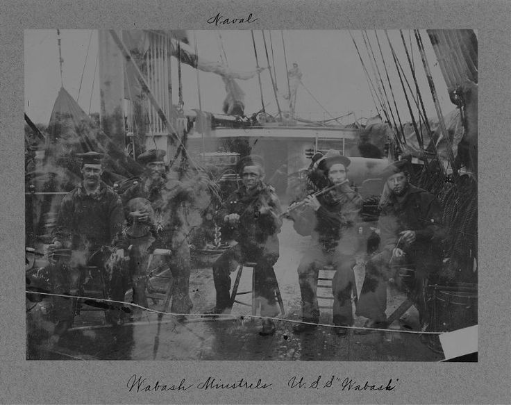 Wabash Minstrels. Union sailors playing banjo, fiddle, flute, triangle, and possibly bones or spoons (far left) on the deck of the U.S.S. Wabash. New York Historical Society.