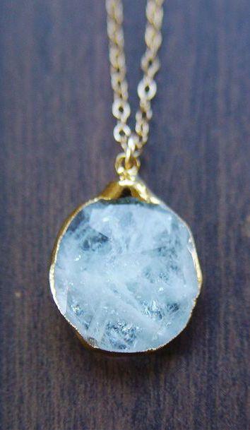 Aquamarine pendant necklace, OOAK, 14k Gold Fill