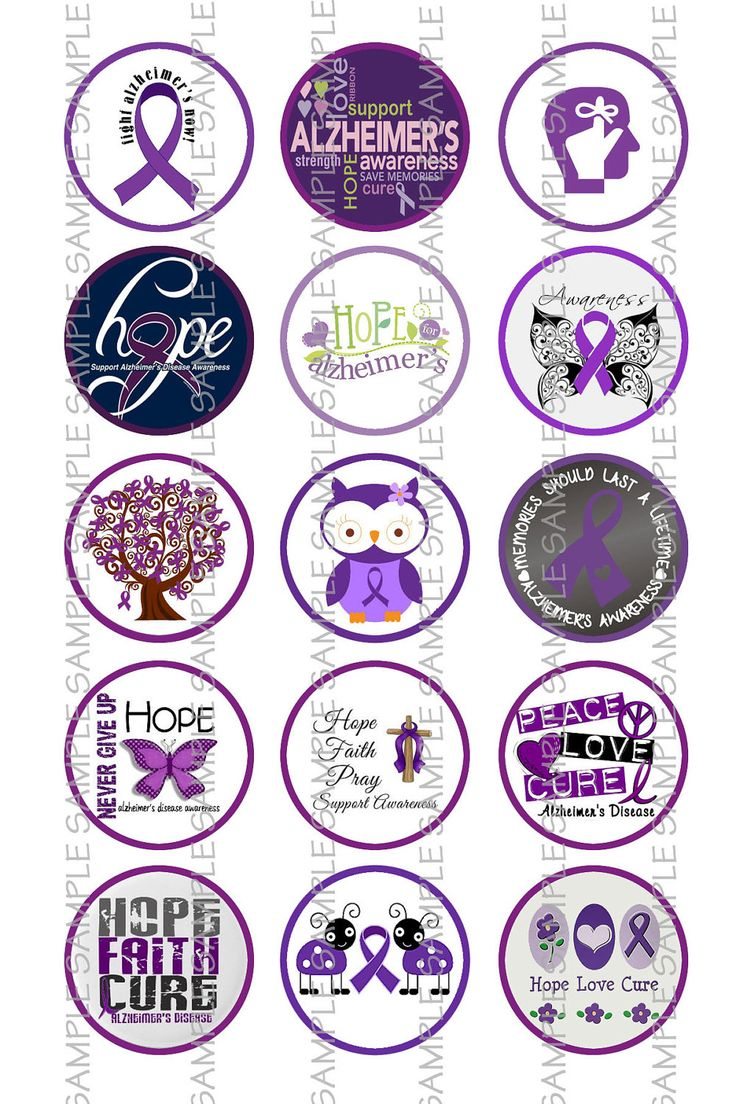 Alzheimer's Awareness 1 Round Digital Images by TheFamilyCircle