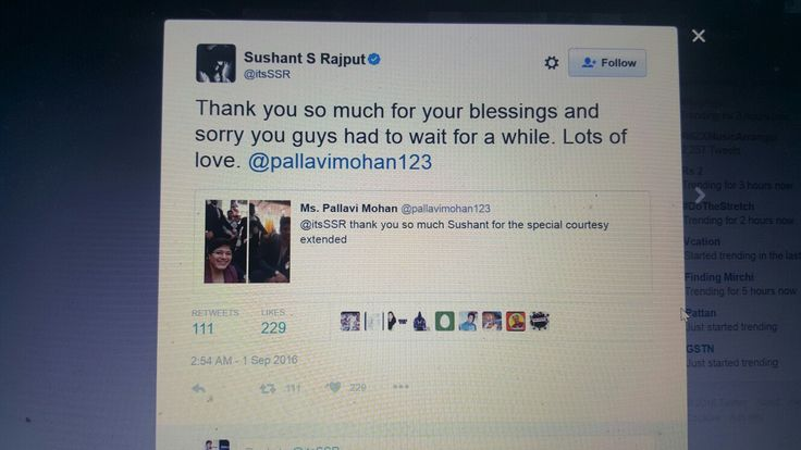 Sushant retweeted 100 plus RT and 200 plus like within 1 hour.....what a power :)