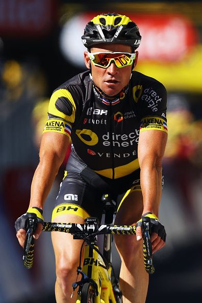 #TDF2016 Thomas Voeckler of France and the Direct Energie team crosses the finish line on stage five of the 2016 Tour de France a 216km road stage from...
