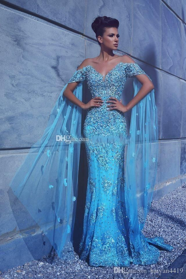 956286b2834 Luxury Mermaid Cap Wrap Sleeves Lace Appliques Crystal Beaded With Cape  Flowers Blue Formal Party Dress