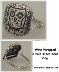 Wire wrapped owl Slider Bead Ring