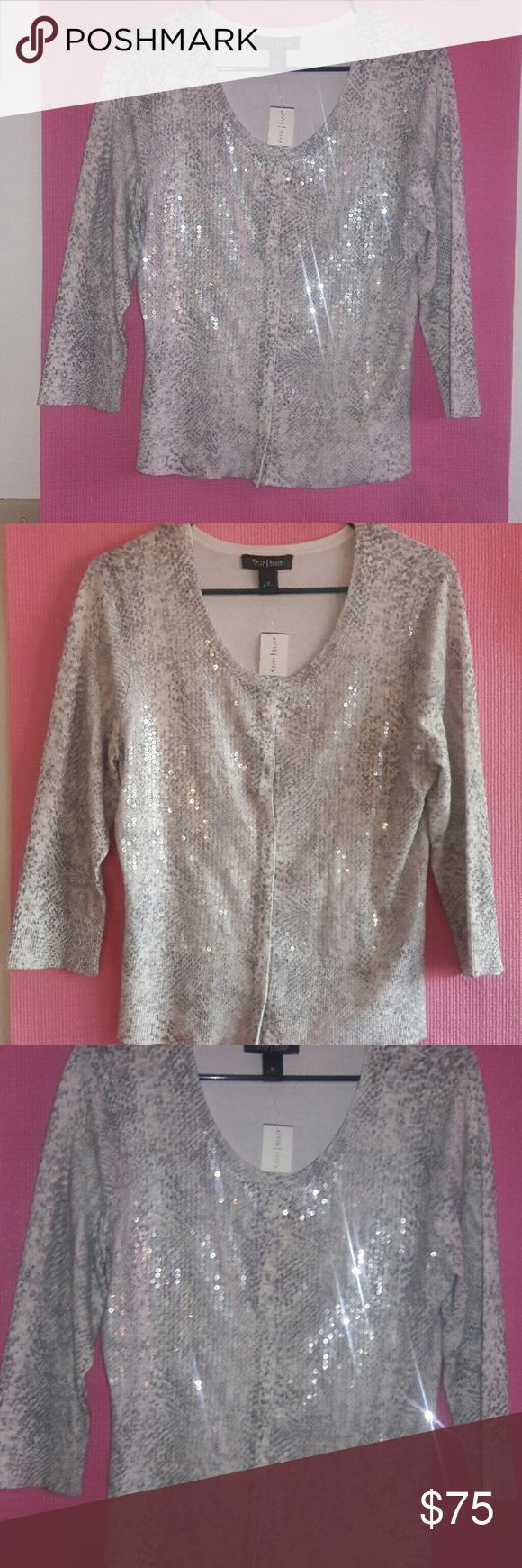 Whitehouse black market sequin cardigan size m Brand new beautiful sequin cardigan with snake print  only sequins in the front brand  new with tag 72%Rayon 28%nylon White House Black Market Sweaters Cardigans