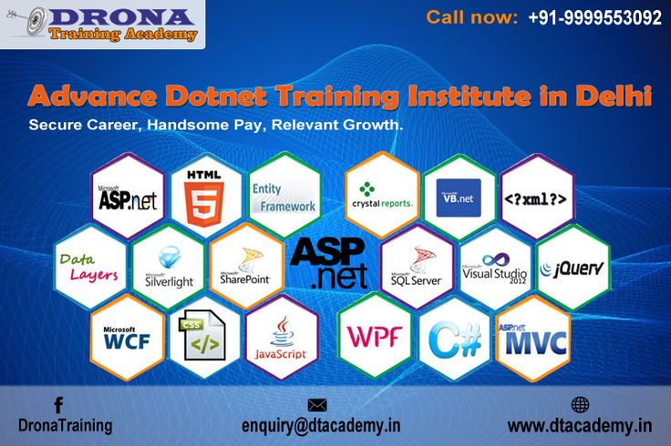 Advance .Net Training: Enrolling in Drona Training Academy (DTA) is like applying for a Job! DTA located in Delhi offers Job Oriented Courses In Advance Dot Net focusing on employment opportunity. Get more info Mail- enquiry@dtacademy.in, Mobile: +919999553092