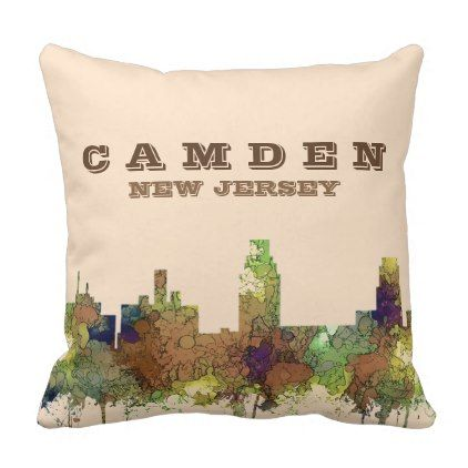 #Camden New Jersey Skyline SG Safari Buff Throw Pillow - #xmas #christmas #christmastime #celebration #kids #children #family #parents #gift #gifts #present #presents