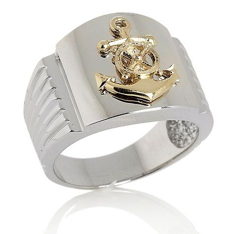 MAJ® Mens Sterling Silver and 10K Anchor Ring