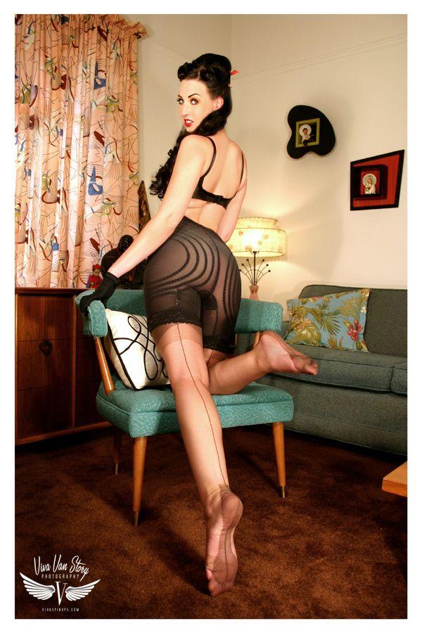 stockings and girdles by vivavanstory model   shannon