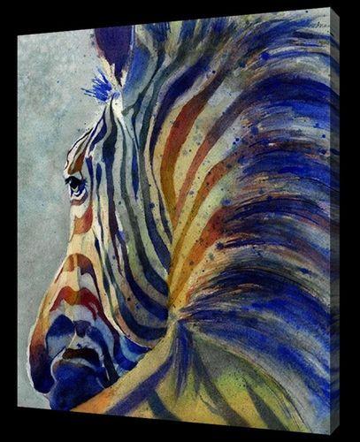 Zebra schilderij | kleurrijke zebra | afrika schilderij