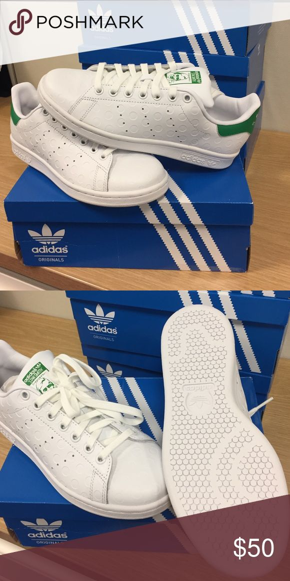 Adidas Stan Smith size 6.5 / 38 Adidas Stan Smith size 6.5 / 38. New in box, never worn. Debossed polka dot style. Smooth white leather with classic green heel Adidas Shoes Athletic Shoes