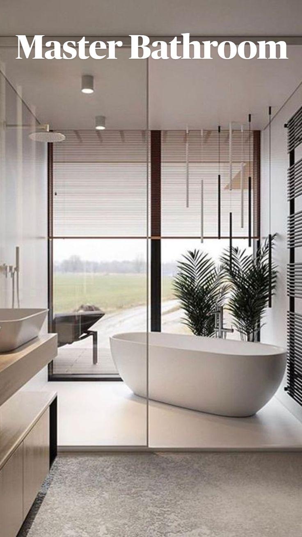 Modern Master Bathroom, Contemporary Bathrooms, Master Bathroom Designs, Timeless Bathroom, Minimal Bathroom, Bathroom Vintage, Modern Baths, Classic Bathroom, Contemporary Apartment